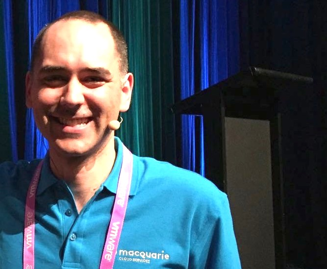 Shaun Domingo at vForum Sydney in November 2017 for Macquarie Cloud Services